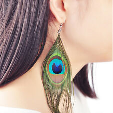 Vintage Retro Style Large Peacock Eye Feather Ear Stud Dangle Earrings Jewelry