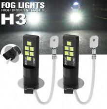 2x Ampoules H3 LED 12 SMD Blanc 6500K pour feux anti Brouillard Auto Moto 12V