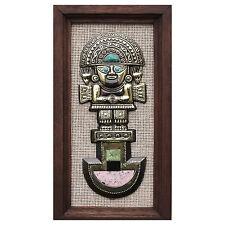Framed Inca Panel Wall Art Bronze w/ Inlaid Gemstones 'Tumi Deity' NOVICA Peru