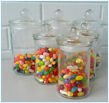 6 SET Glass Apothecary Candy Lolly Buffet Jar Candle Waxing, Wedding & Party