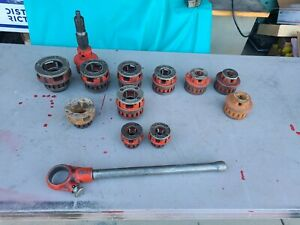 LOT OF 13 RIDGID DIE HEADS  & PIPE THREADER RATCHET