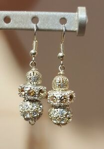 Fashion Earrings Sw. Crystal ball Silver color  with silver hook