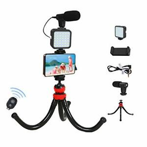 Smartphone Video Microphone Kit with LED Light,Wireless Remote, Flexible...