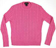Brooks Brothers Italian Mercerized Cotton Cable Knit Crewneck Sweater Small Pink