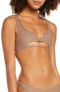 Frankie's Bikinis Cole Cutout Bikini Top: Size XL: Brown (177)