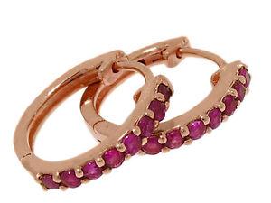s E027 Genuine 9ct SOLID Rose Gold NATURAL Ruby HUGGIE Earrings Hoops