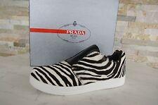 PRADA Gr-37 Zapatillas Mocasines Slip-Ons Cebra Zapatos negros + Blanco NUEVO