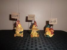 Set of 3 Mini Signs Held by Roosters- Live Love Laugh