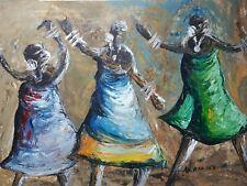Aceite De África/Pintura De Acrílico Original Firmado Mujer Dansing tribal Folk Art