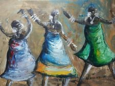 African olio/acrilico dipinto originale firmato Donna dansing Tribal Folk Art