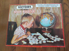 Rare Vintage Victory Plywood Jigsaw Puzzle USA Map 100 Pieces 7505 1972