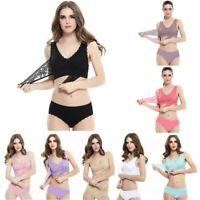 Women Front Cross Wireless Buckle Lace Bra Briefs Adjustable Push Up Side BraSet