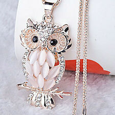 Popular Women Crystal Rhinestone Opal Owl Pendant Necklace Sweater Chain