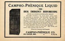 1912 Original Antique Campho Phenique Antiseptic Burn Drug Medicine Print Ad