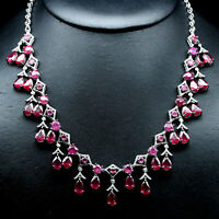 "NATURAL 6 X 9 mm. RED RUBY & WHITE CZ NECKLACE 20"" 925 STERLING SILVER"