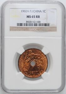 """Indochina 1 cent 1902 A, NGC MS65 RB, """"French Indochina (1885 - 1954)"""""""