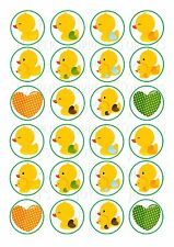 24 BABY YELLOW DUCKS  CAKE TOPPER ICED/ ICING EDIBLE FAIRY/CUP CAKE  TOPPERS