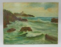 Dipinto quadro olio su masonite faesite paesaggio marina italiano antico 900