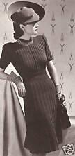Vintage Knitting PATTERN to make Vogue Designer Dress Rib Knit 1930s VogueRibbed