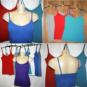 Save 50% Ex M&S Stretchy Cotton Strappy Cami Vest Top Camisole 8 colours UK 8-12