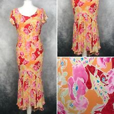 Country Casuals Petite Orange Pink Floral Fishtail Cocktail Cruise Dress 14 Silk