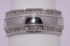 8MM Two Row Pave Diamond Eternity Wedding/Anniversary Band Ring 0.37ct 14K-WG