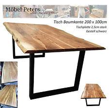 Esstisch Tisch 200x100cm Akazie massiv Gestell schwarz SIT Sofort Lieferbar NEU