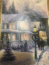 Unused Christmas Card Hallmark Glitter Thomas Kinkade Matching Envelope House