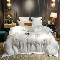 Luxury European Embroidery Cotton Bedding Set Washed Silk Duvet Cover Bed Sheet
