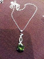 Cadena + colgante piedra verde chap. plata 925