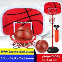 72-150CM Adjustable Free Standing Basketball Hoop Net Kids Backboard Stand Set