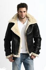 Mens Black Aviator WW II Piolet real sheepskin shearling leather jacket