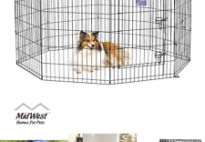 New listing MidWest Homes for Pets Folding Metal Exercise Pen / Pet Playpen Black w/ Door