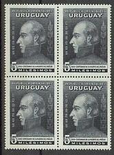 Uruguay 1952 Sc# 586 Gen Jose Artigas block 4 MNH