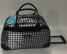 NEW KATHY VAN ZEALAND BLACK HOUNDSTOOTH WHEELED DUFFLE LUGGAGE CITY BAG $120