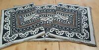 4 x Vintage Black Brown Pure Linen Placemats Table Mats Fijian Boho Tribal