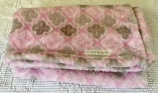 BLANKETS & AND BEYOND BABY GIRL PINK Brown Flower FLEECE DAMASK PRINT LOVEY