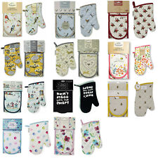 Cooksmart DOUBLE or SINGLE OVEN GLOVES MITT Many designs Novelty Floral Animals