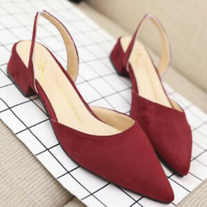 Women Pointed Toe Slingbacks Sandals Low Heel Shoes Faux Suede Sexy Party Pumps