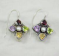 Solid 925 Sterling Silver Jewelry Multi Gemstone Handmade Women's Gift Earring