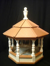 Large Spindle Poly Bird Feeder Amish Handcrafted Handmade Ivory with Cedar Roof