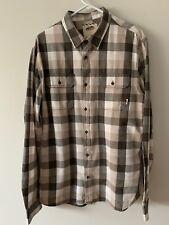 Vans Off The Wall Flannel Button Shirt Gray Beige Cream Plaid Size XL Cotton