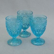 ANTIQUE bleue verre moulé calices / pressgläser, Lot de 3, clair, Um 1920/30
