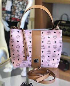 MCM Medium Klara Monogram Leather Hobo Bag Brand NEW W/TAGS! Soft Pink+Dust $685
