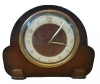 Art Deco Dark Wood Perivale Andrew Body Mantle Clock w Smiths Floating Movement
