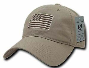 U.S American Flag Relaxed Ripstop Hat Cotton Polo Khaki Tonal Baseball Cap