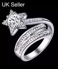 925 Sterling Silver Plated Crystal SHOOTING STAR ADJUSTABLE RING UK Stock