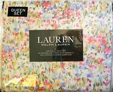 Ralph Lauren 4 Pc Cotton Sheet Set Floral Pink Blue Green Gold Queen - New