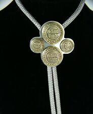 Bolo Tie Midland Railway Colorado Route railroad buttons on silver plate