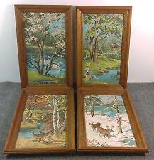Vintage Paint By Number Set/4 Seasons Wildlife Fishing Deer Nature Wood Framed